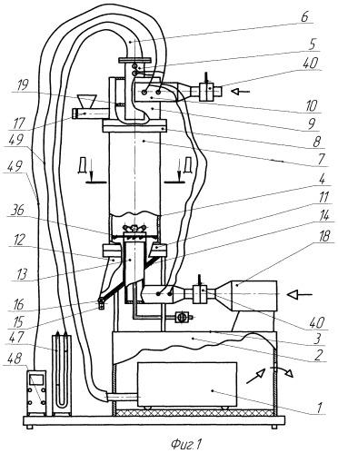 Лабораторный стенд конструкции землякова н.в. для демонстрации и изучения процессов пылеулавливания, сушки и грануляции во встречных закрученных потоках воздуха