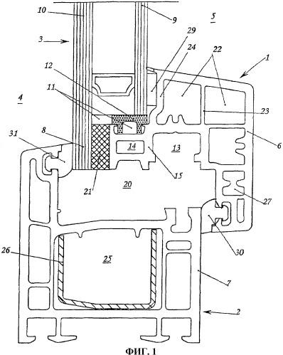 Профиль для створного оконного переплета и пластмассовое окно с вклеенным остеклением