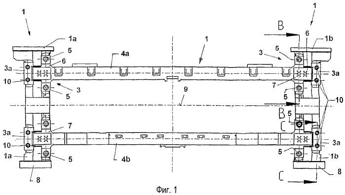 Станина для обжимных клетей прокатного стана, выполненная из нескольких компонентов