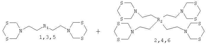 Способ совместного получения мономерных (n, n-бис{2-[1, 3, 5-дитиазинан-5-ил]этил}амина, n1,n2-бис{2-[1, 3, 5-дитиазинан-5-ил]этил}-1, 2-этандиамина, 5-{2-[5-{2-[1, 3, 5-дитиазинан-5-ил]этил}-4-метил-1, 3, 5-тиадизинан-3-ил]этил}-1, 3, 5-дитиазинана) и димерных бис-1, 3, 5-дитиазинанов(n-({[(бис{2-[1, 3, 5-дитиазинан-5-ил]этил}амино)метил]сульфанил}метил)-2-[1, 3, 5-дитиазинан-5-ил]-n-{2-[1, 3, 5-дитиазинан-5-ил]этил}-1-этанамина, 3, 6, 10, 13-тетракис-{2-[1, 3, 5-дитиазинан-5-ил]этил}-1, 8-дитиа-3, 6, 10, 13-тетраазациклотетрадекана, 3, 5, 9, 11-тетракис-{2-[1, 3, 5-дитиазинан-5-ил]этил}-4, 10-диметил-1,7-дитиа-3, 5, 9, 11-тетраазациклододекана)